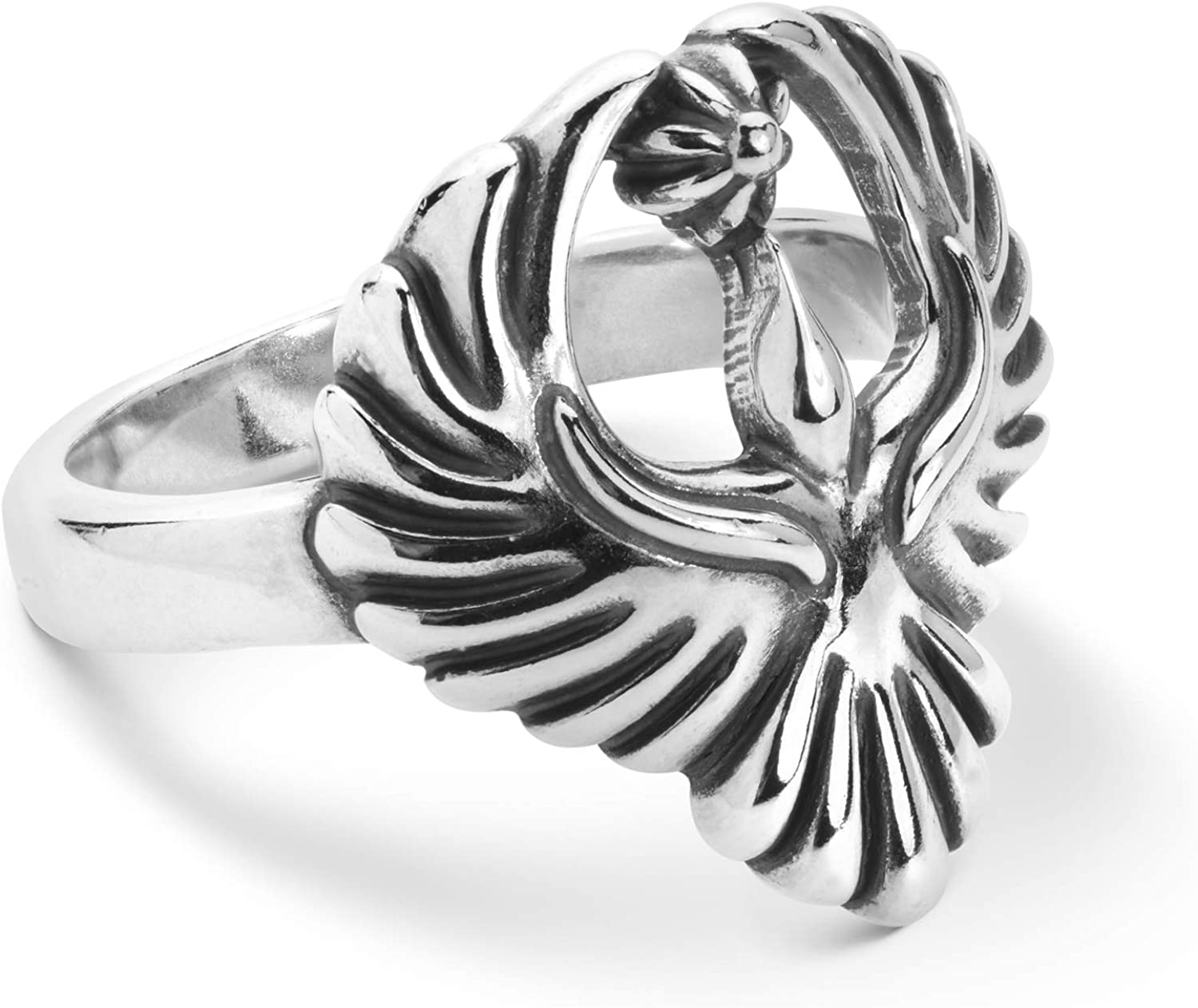 American West Sterling Silver Open Wings Soaring Eagle Ring Size 5 to10