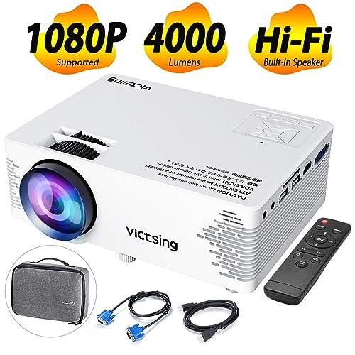 VicTsing Proyector Cine en Casa 4000 Lumenes y 50000 hrs de Vida Mini Proyector Portatil con Bolsa Portátil Control Remoto HDMI VGA AV Cargador Cable Cepillo Limpia etc