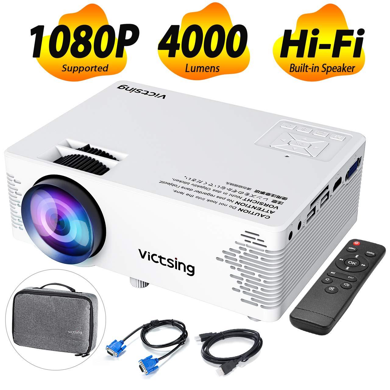 VicTsing Proyector Cine en Casa 4000 Lumenes y 50000 hrs de Vida, Mini Proyector Portatil, con Bolsa Portátil, Control Remoto, HDMI/VGA/AV/Cargador ...