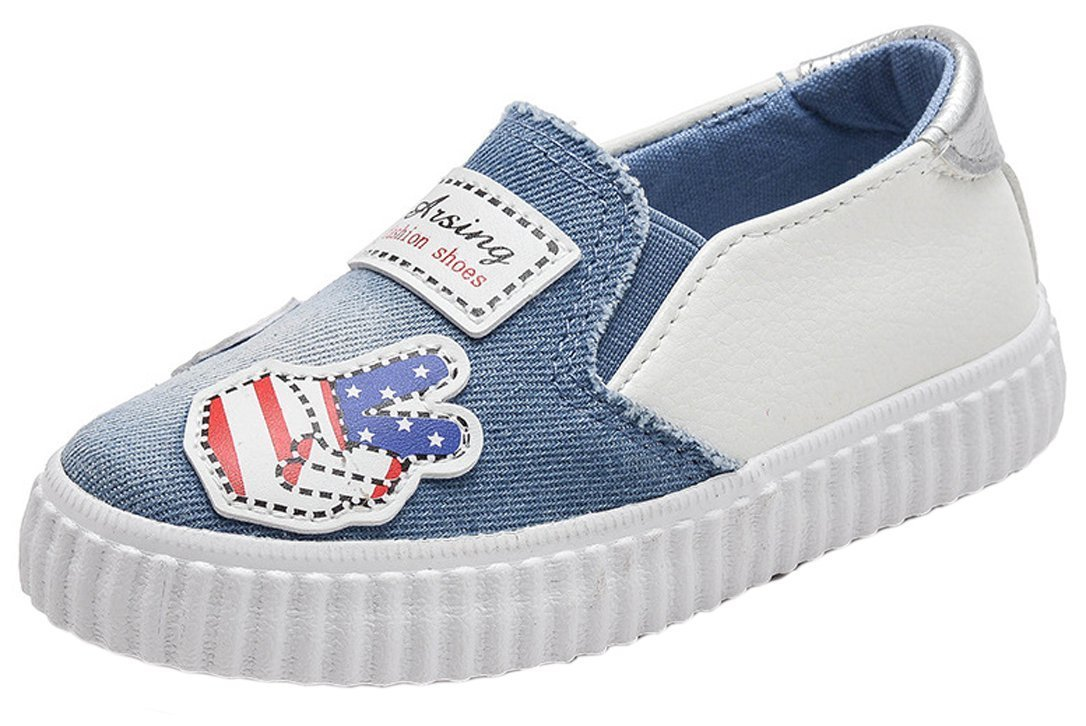 iDuoDuo Boys Girls Fun Print Outdoor Leisure Shoes Easy Slip On Loafer Flats Blue 12 M US Little Kid