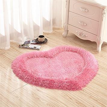Teppiche, CAMAL Herz Stretch Seide Teppich Dekoration Wohnzimmer  Schlafzimmer Und Badezimmer (Rosa)