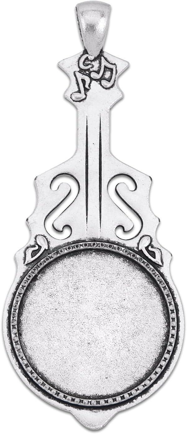 Bandeja de 25 mm con colgante de guitarra redonda, base en blanco ...