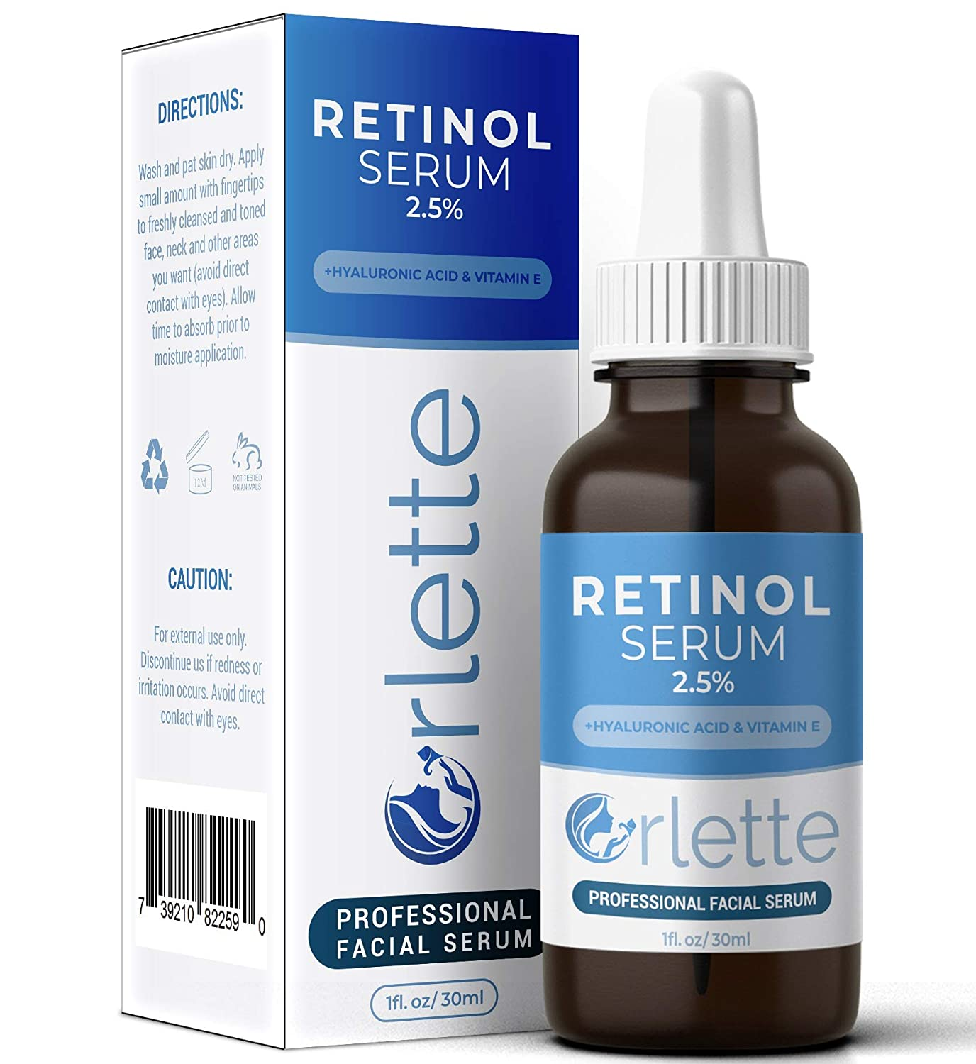 Orlette Retinol Serum 2.5% - Professional Grade Skincare - Vitamin A and E, Hyaluronic Acid - Anti-Aging, Hydrating Skin and Face Moisturizer - Wrinkle, Acne Spot, Pigmentation, Blemish Remover - 30ml