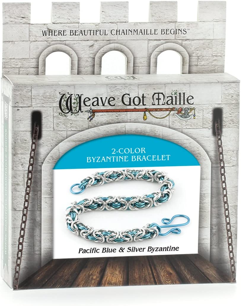 Gold and Silver Weave Got Maille 2-Color Byzantine Chain Maille Bracelet Kit