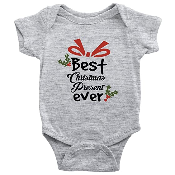 best christmas present ever onesie baby xmas bodysuit nb heather grey