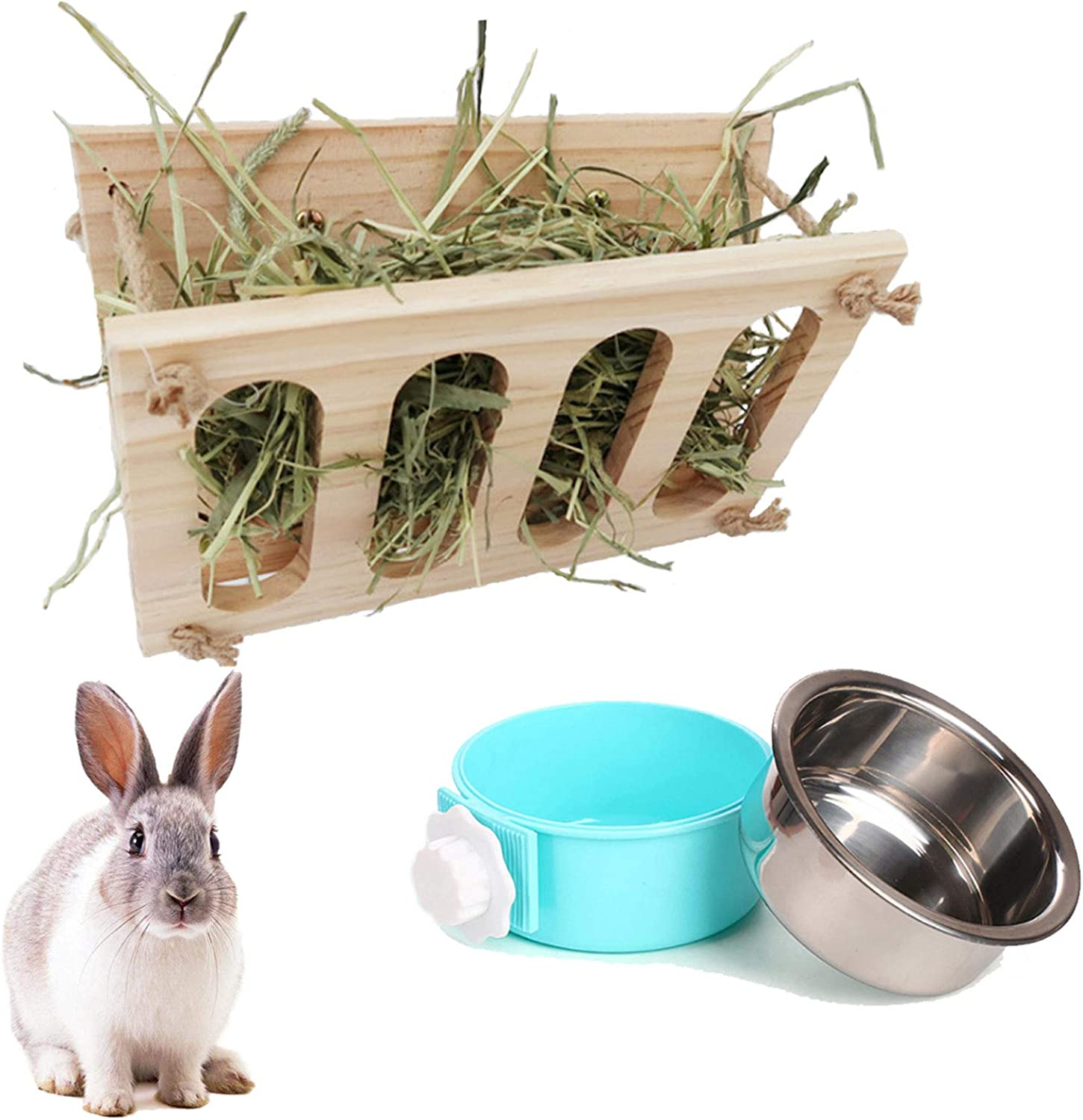 Rabbit Hay Feeder Natural Wooden Hay Manger with Removable Stainless Steel Crate Bowl Water Food Feeder for Rabbits, Chinchilla, Hamster and Guinea Pigs