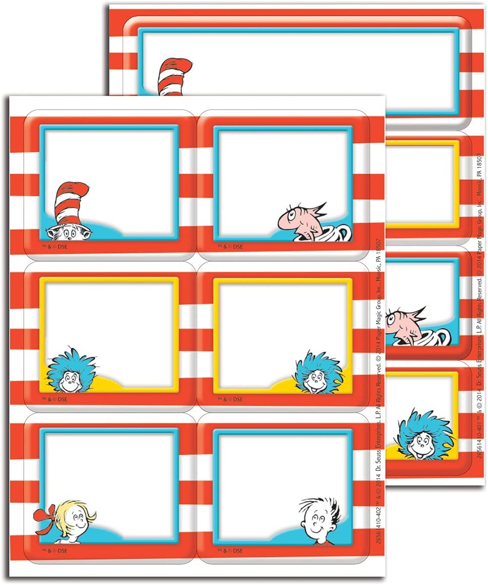 Eureka Back to School Dr. Seuss Cat in The Hat Label Stickers for Teachers, 56pc