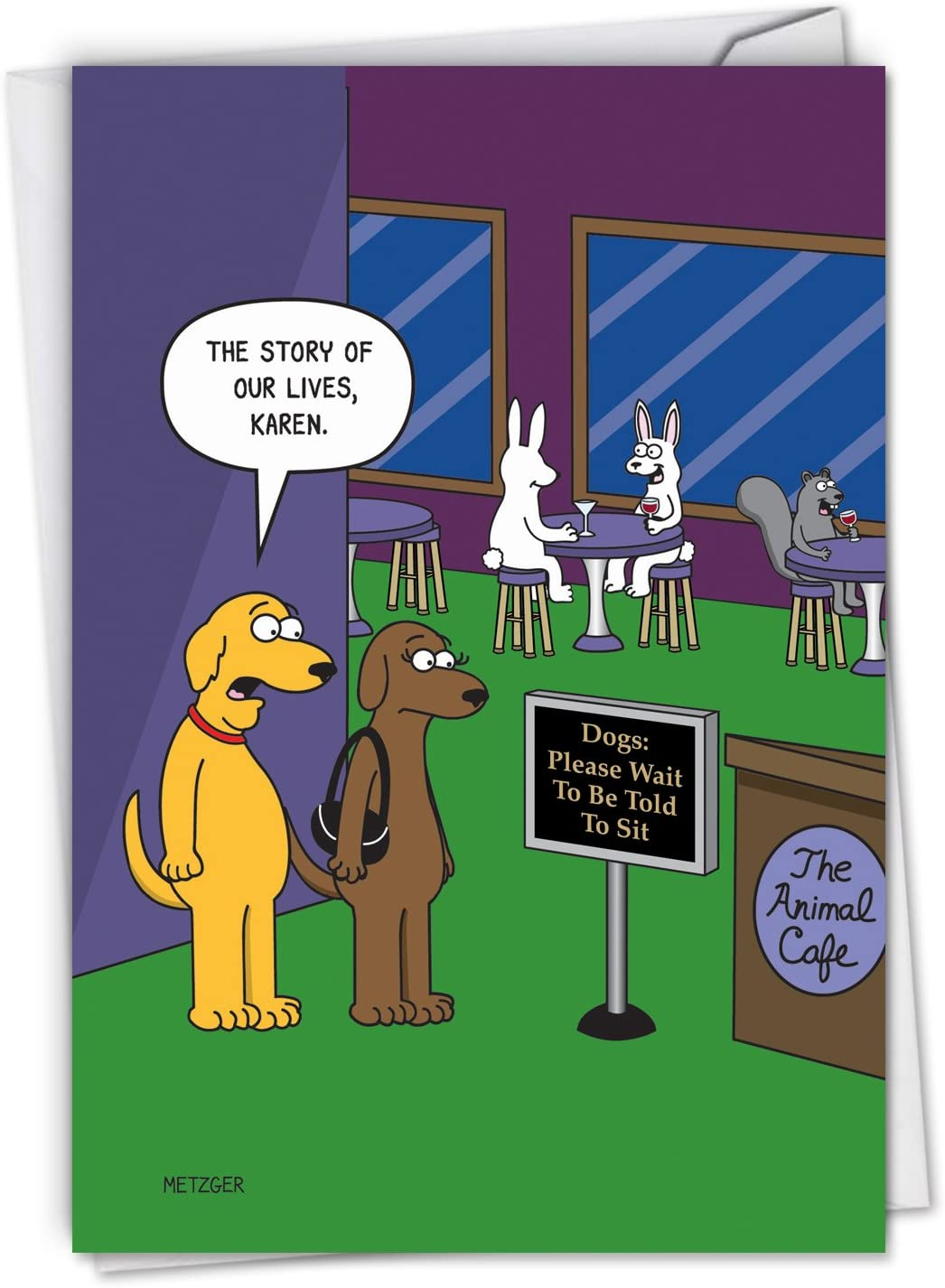 Amazon Com Nobleworks The Animal Cafe Funny Happy Birthday Note Card Humorous Dogs Pet Animals Cartoon Stationery C6384bdg Office Products