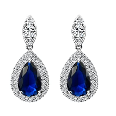 83473ad5343 Amazon.com  Lavencious Sapphire Tear Drop Dangle Earrings AAA CZ Luxury  Jewelry Wedding Party for Bridal Silver Tone (Blue)  Toys   Games