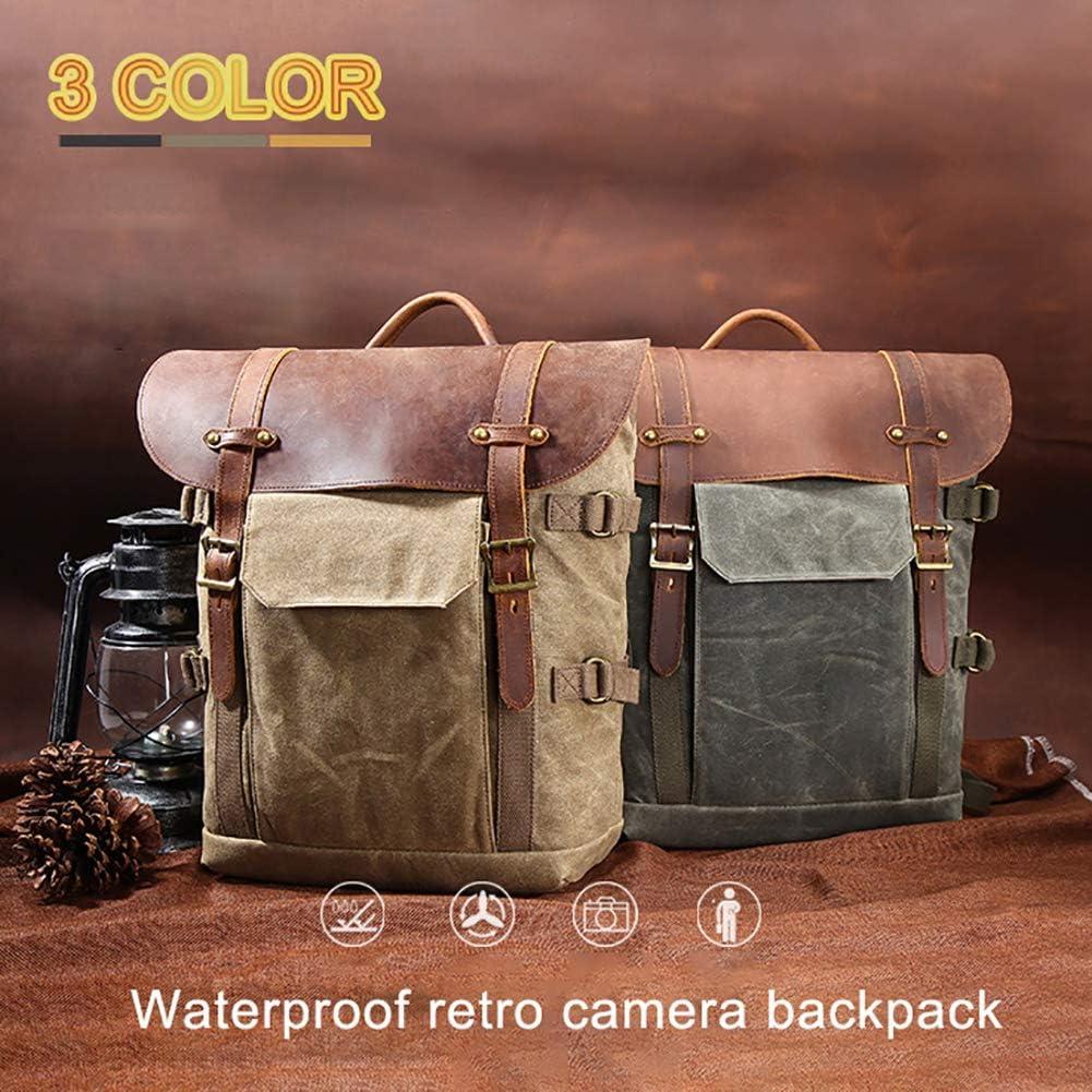 Shentesel Camera Backpack Retro Waterproof Canvas DSLR SLR Case Rucksack Tablet Laptop Bag Army Green