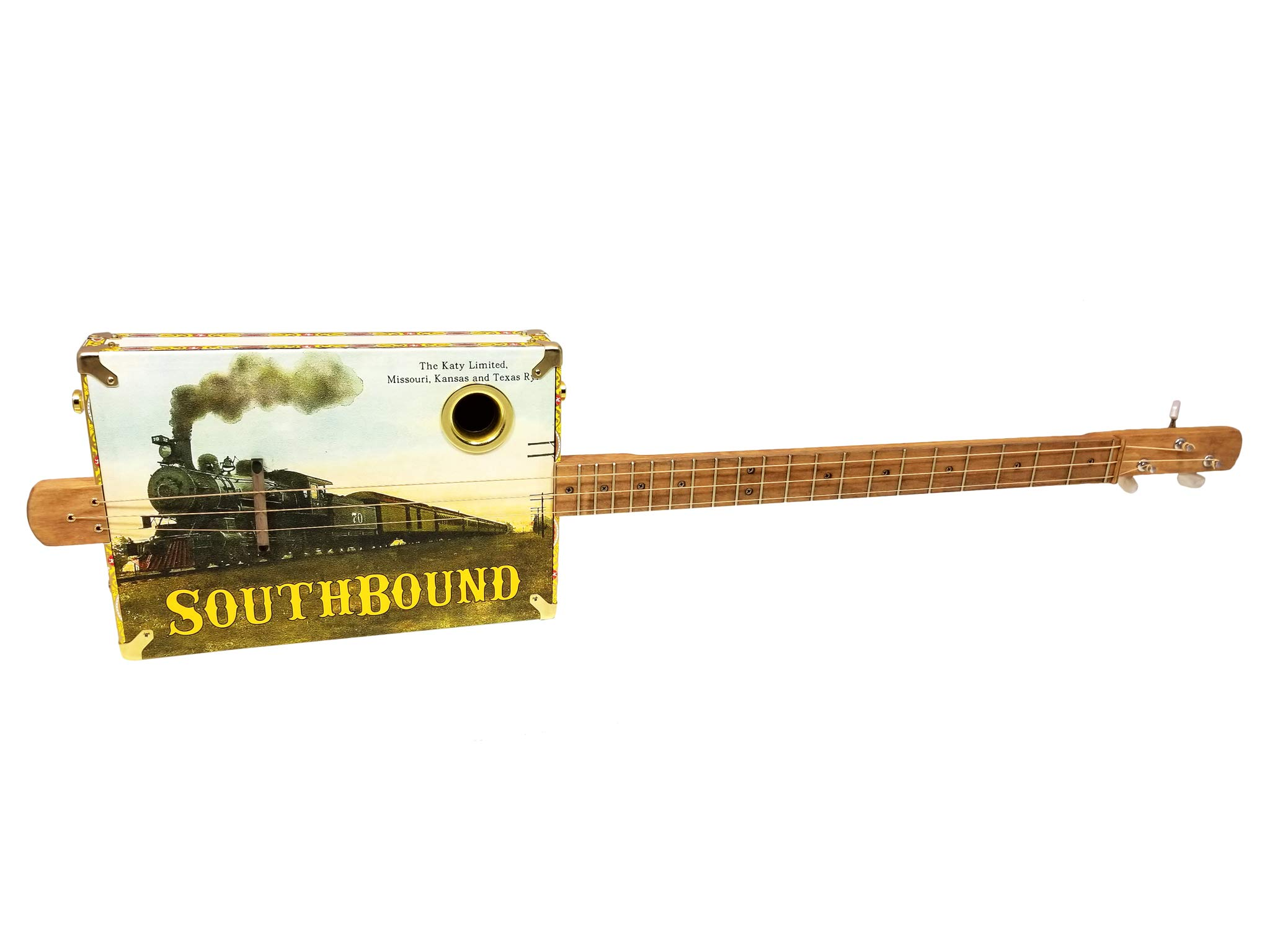 ''The Southbound Katy'' 3-string Acoustic-Electric Cigar Box Guitar - Featuring a Vintage Railroad Postcard Design!