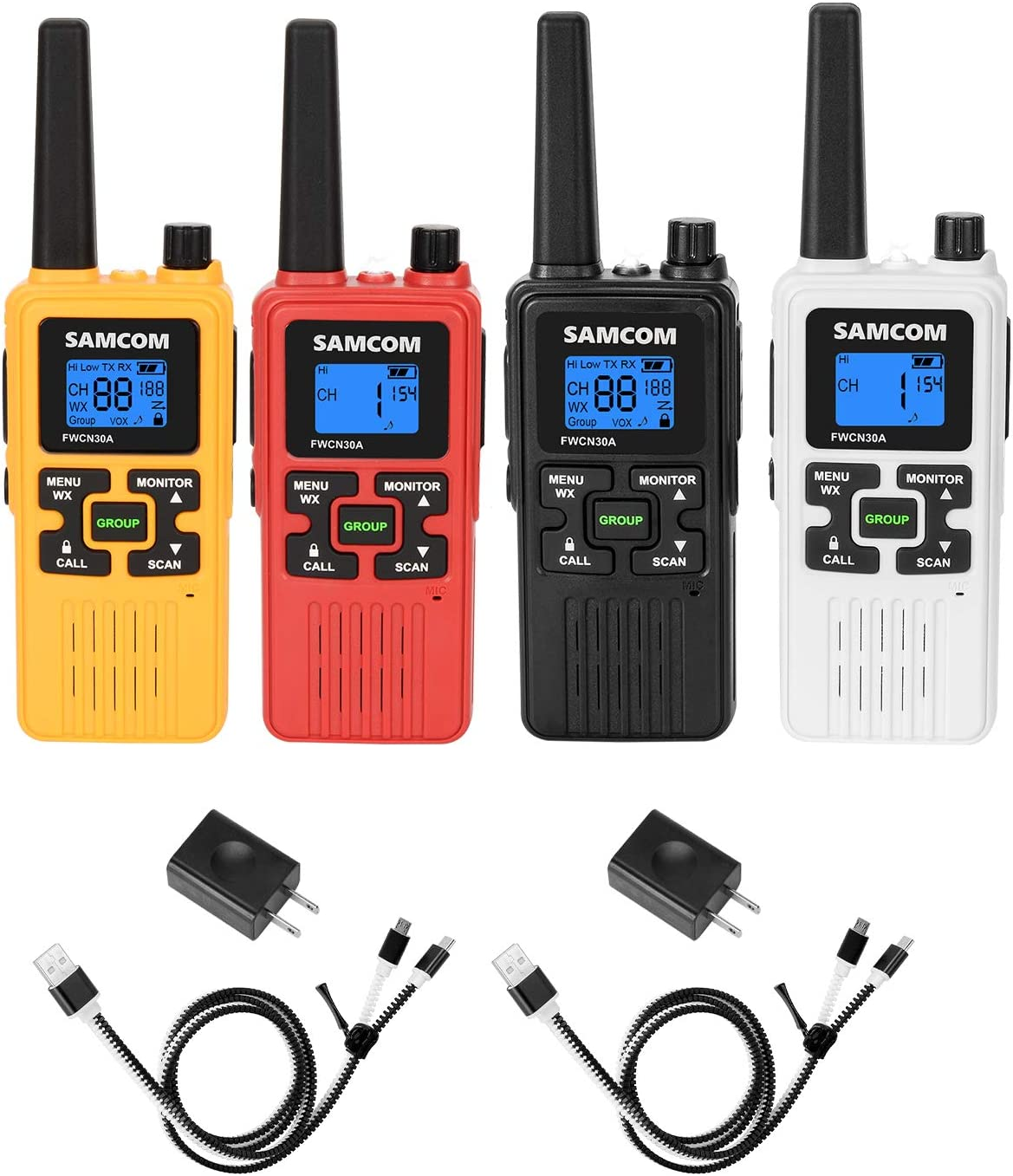 FRS Two Way Radio 22CH, 1250mAh USB Rechargeable Battery LCD Display LED Flashlight, License Free Walkie Talkies 36 Miles Long Range with Group VOX SCAN NOAA Call Alert Function, 4 Packs