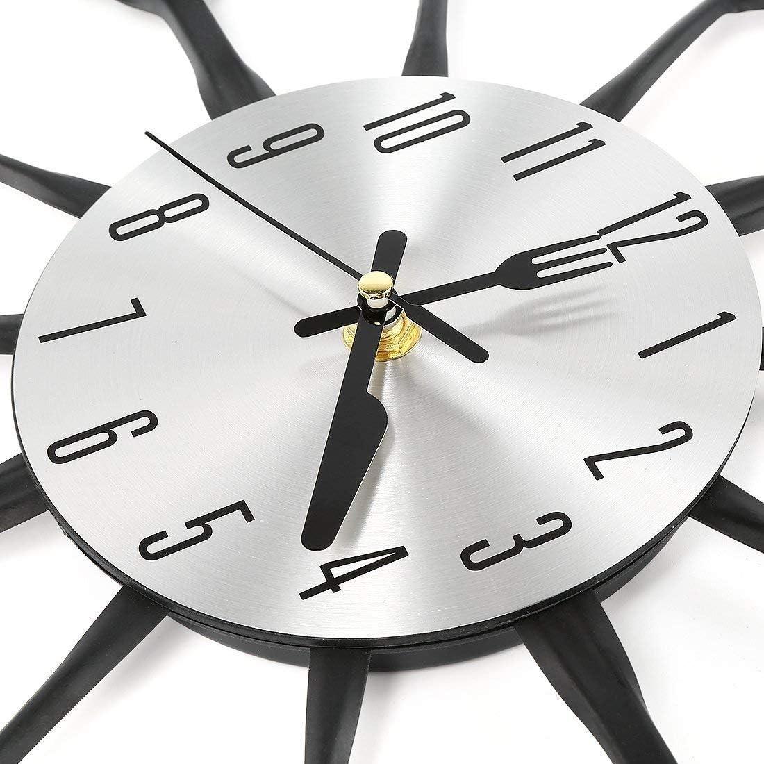 Horloge Pendule Murale en D/ésign M/étal Silensieuse Style Moderne D/écoration pour Salon Chambre 32.5 cm de diam/ètre, Noir Salle LVPY Horloge Murale