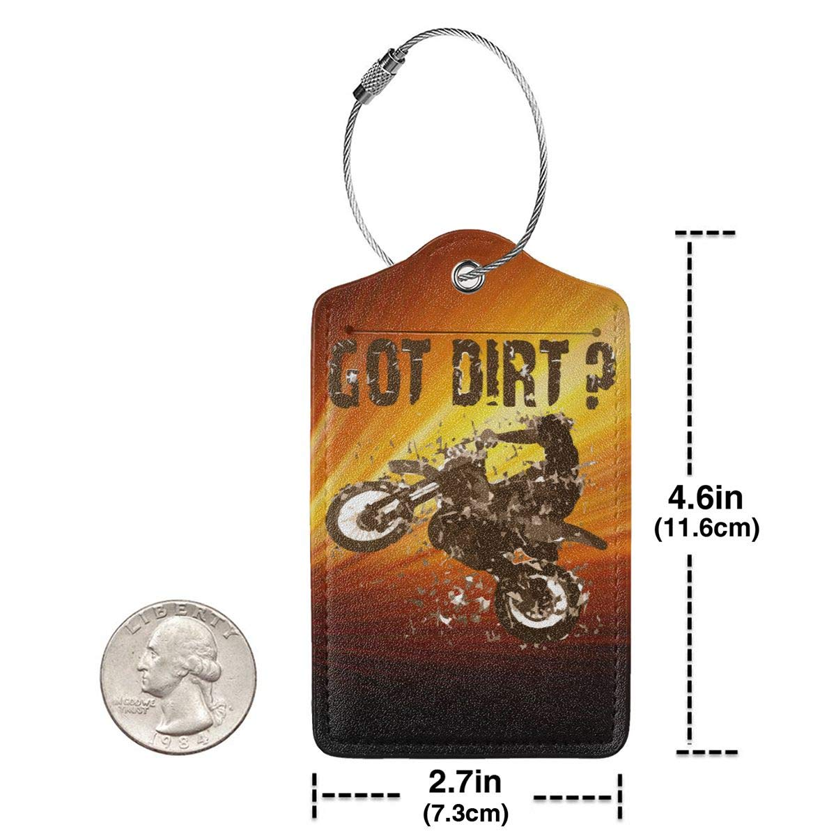 Got Dirt Bike Motorcross Racing Travel Luggage Tags With Full Privacy Cover Leather Case And Stainless Steel Loop
