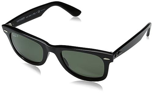 Ray-Ban Wayfarer Gafas de sol, Rectangulares, Polarizadas, 54, Black