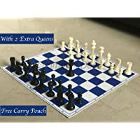 """Paramount 17""""x 17"""" Professional Vinyl Chess Set (Fide Standards)- with 2 Extra Queens/Carry Pouch, Blue"""