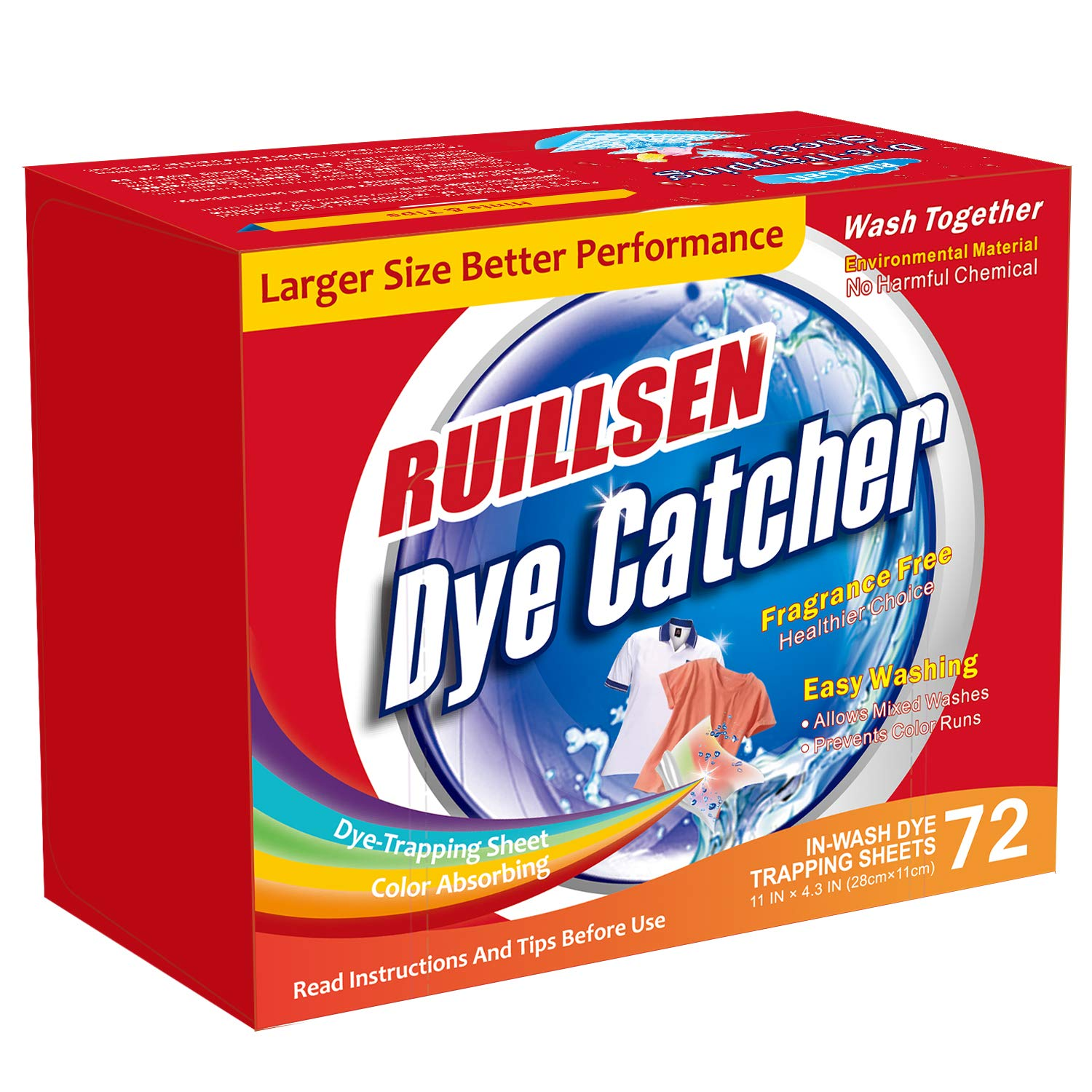 RUILLSEN Color Catcher, Dye Trapping Sheet Dirt Grabber Stain Remover Sheets for Laundry,Dye Catcher In-Wash 72-Count Sheets at School/Single-Apartment/Small Families