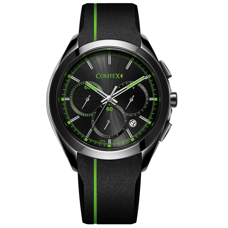 COMTEX Herren Armbanduhr Chronograph Quarz mit Schwarzem Silikon Band Sport Uhren