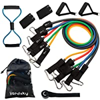 Yardsky Resistance Band Set 12 PCS Suit with Quality Fitness Sports Tube and Waterproof Suitcase Resistance Training Physical Therapy Home Gym Workout Fitness Yoga