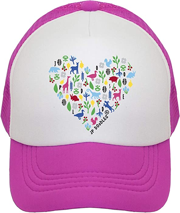 e34a9494c7ed7 Heart on Kids Trucker Hat. The Kids Baseball Cap is Available in Baby