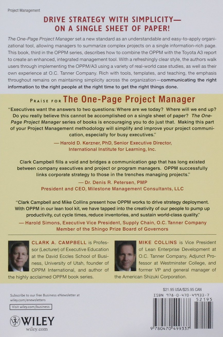 Amazon the one page project manager for execution drive amazon the one page project manager for execution drive strategy and solve problems with a single sheet of paper 9780470499337 clark a campbell 1betcityfo Gallery