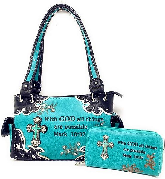 Texas West EU Bolso/cartera ocultados crudos de la cruz de la piedra del verso de la biblia del verso de la piedra preciosa en colores múltiples