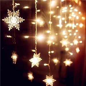 Senofun Snowflakes LED Curtain Lights Color Changing 11.5ft 16 Snowflakes Fairy Lights 80pcs LED Snowflake Lights for Home, Church, Wedding, Birthday (Snowflakes-Warm White)