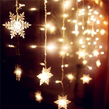 Senofun Snowflakes LED Curtain Lights Color Changing 11.5ft 16 Snowflakes  Fairy Lights 80pcs LED Snowflake - Amazon.com: Senofun Snowflakes LED Curtain Lights Color Changing