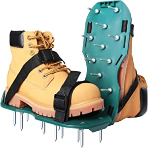 Beidi Lawn Aerator Shoes Lawn Sandals with 26 Aerating Spikes Soil Aeration Shoe Pair with Spikes One-Size-Fits-All Strap Design Nonslip Buckle