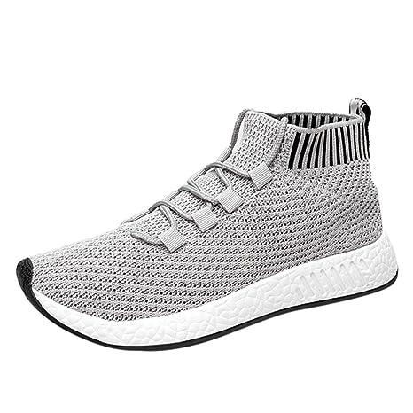 b05c69c1eee71 SUKEQ Fashion Men Boys Flyknit High Top Sneakers, Cross Tied Soft Sole Running  Shoes,