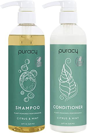 Puracy Shampoo and Conditioner Set, Hair Stays Clean and Silky Longer with LexFeel N5, Natural and Color-Safe, 16 Ounce (2-Pack)