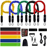 Resistance Bands Set for Men, (17pcs) Home Gym Exercise Fitness Resistance Bands with Handles, Door Anchor, Waterproof Carry