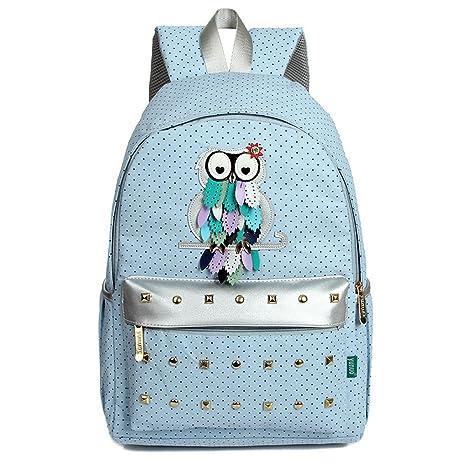 Escuela TechSmile® lona macrófago búhos mochila bolsas de gran capacidad viaje mochilas Casual para niñas