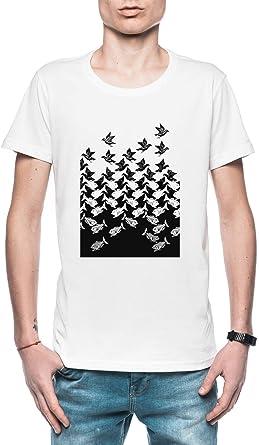 Pez Y Aves Art º Deco Mosaico Hombre Camiseta Blanco Todos Los Tamaños - Mens T-Shirt White: Amazon.es: Ropa y accesorios
