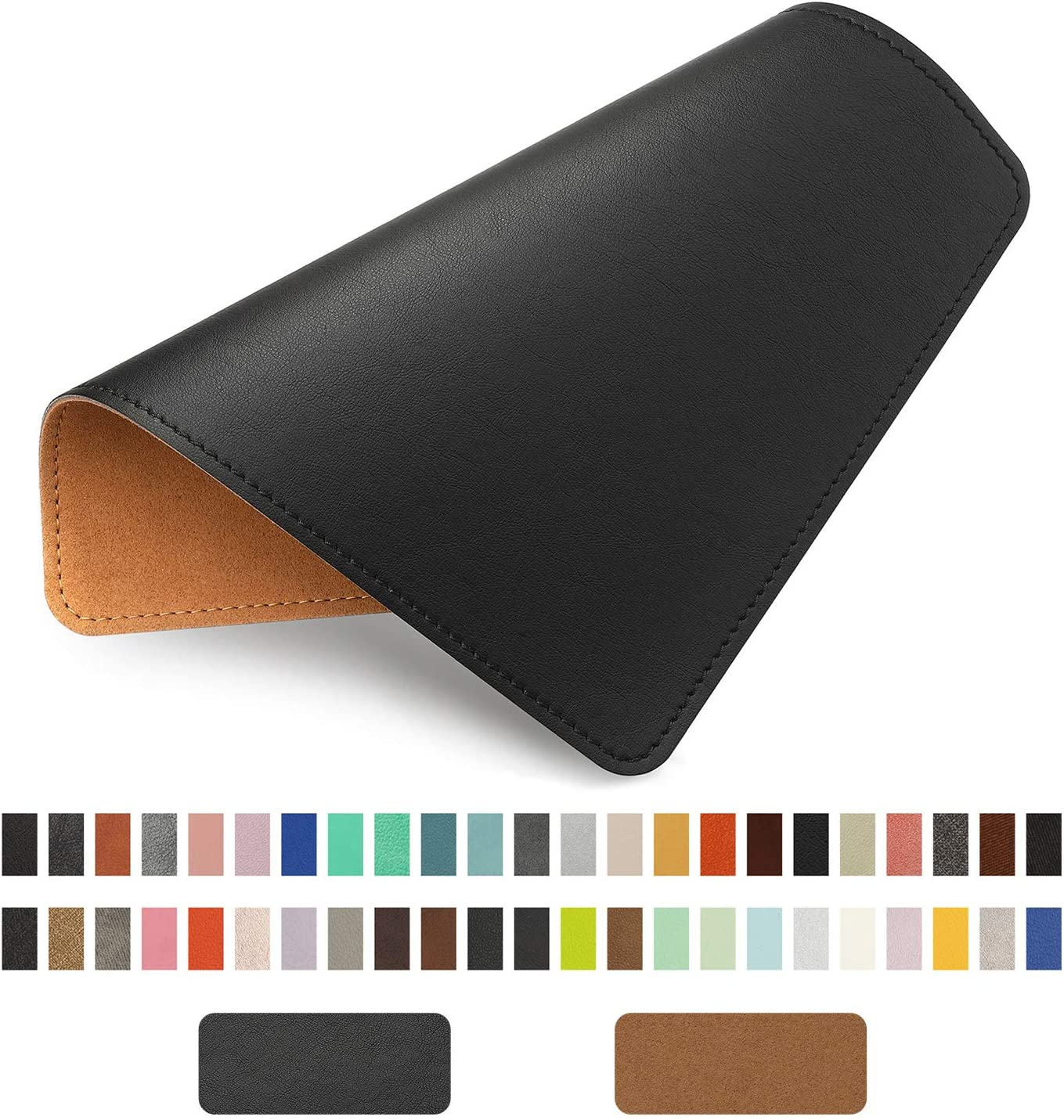 PU Leather Mouse Pad with Stitched Edge Micro-Fiber Base with Non-Slip, Waterproof, Mouse Pad for Computers, Laptop, Office & Home,1 Pack, 8inch11inch (Black)