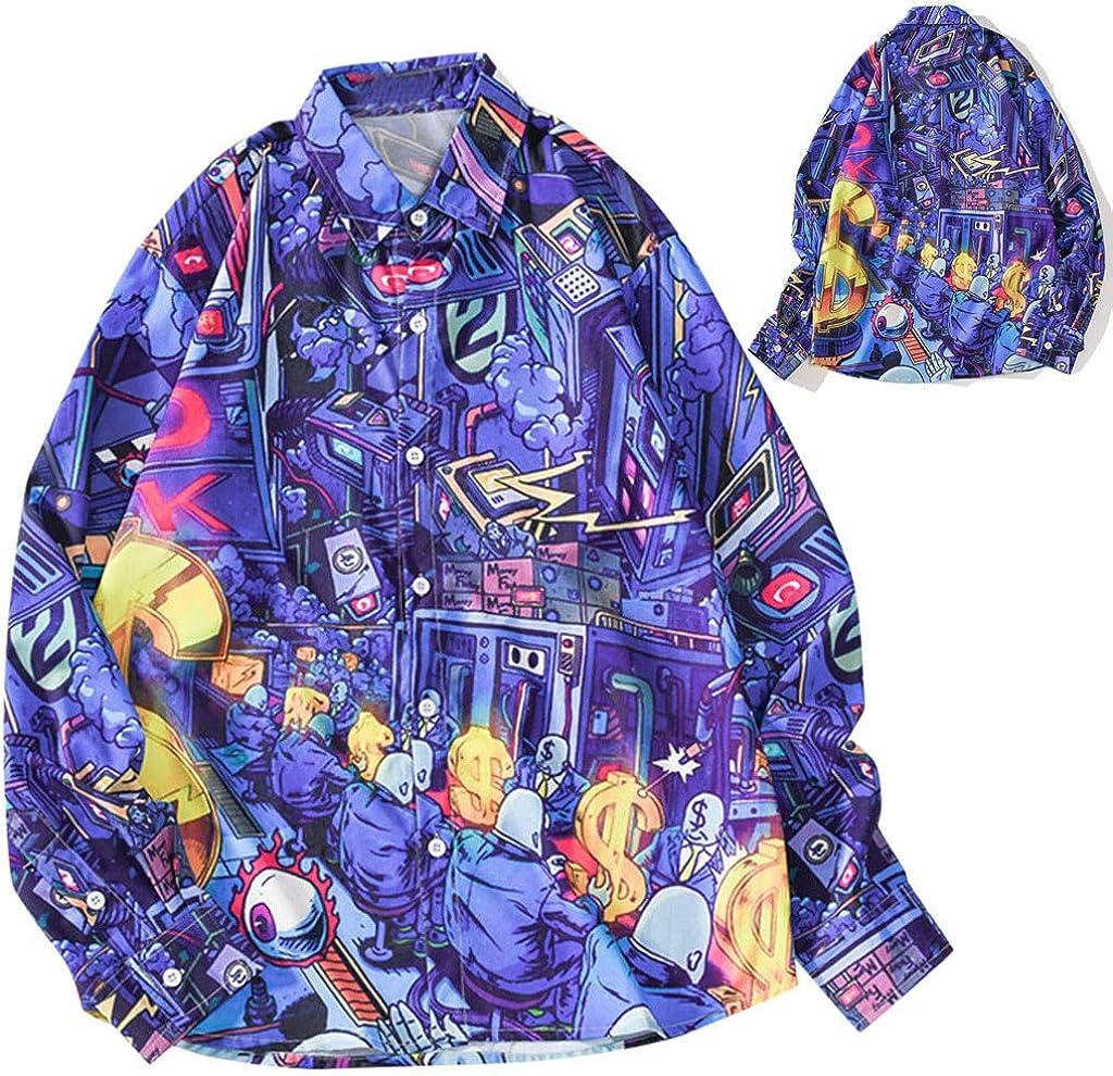 Camisas de hombre de manga larga fantasía, vintage 3D, impresión de camiseta de hombre Streetwear camiseta 2019 hombre ropa camisetas y camisetas M violeta: Amazon.es: Belleza