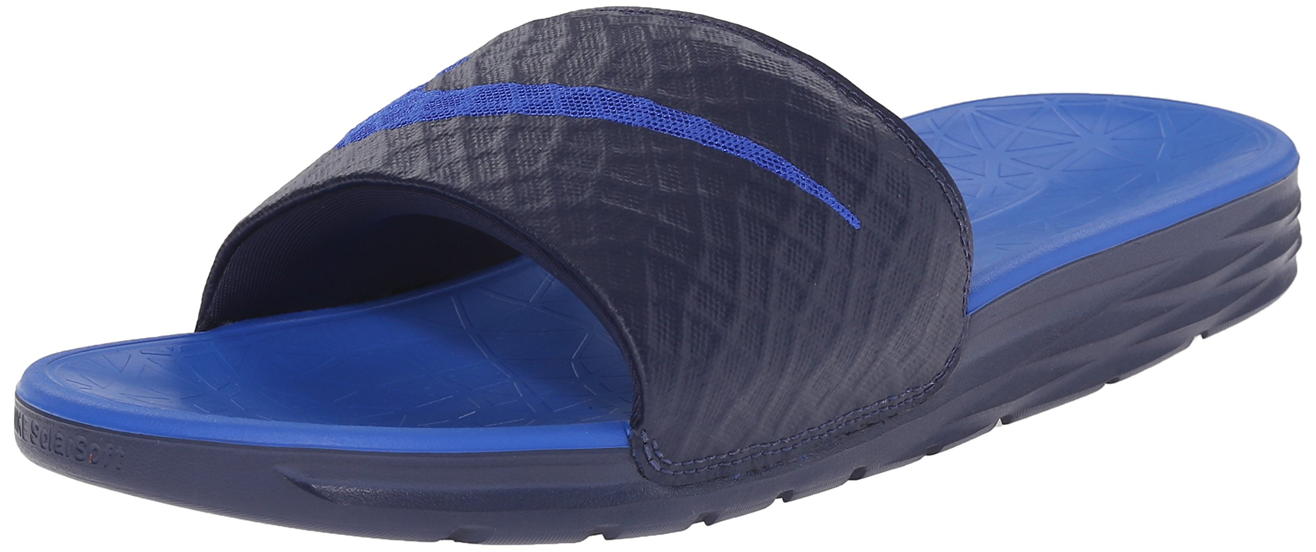 Nike Men's Benassi Solarsoft Slide Athletic Sandal, Midnight Navy/Lyon Blue, 14 D(M) US