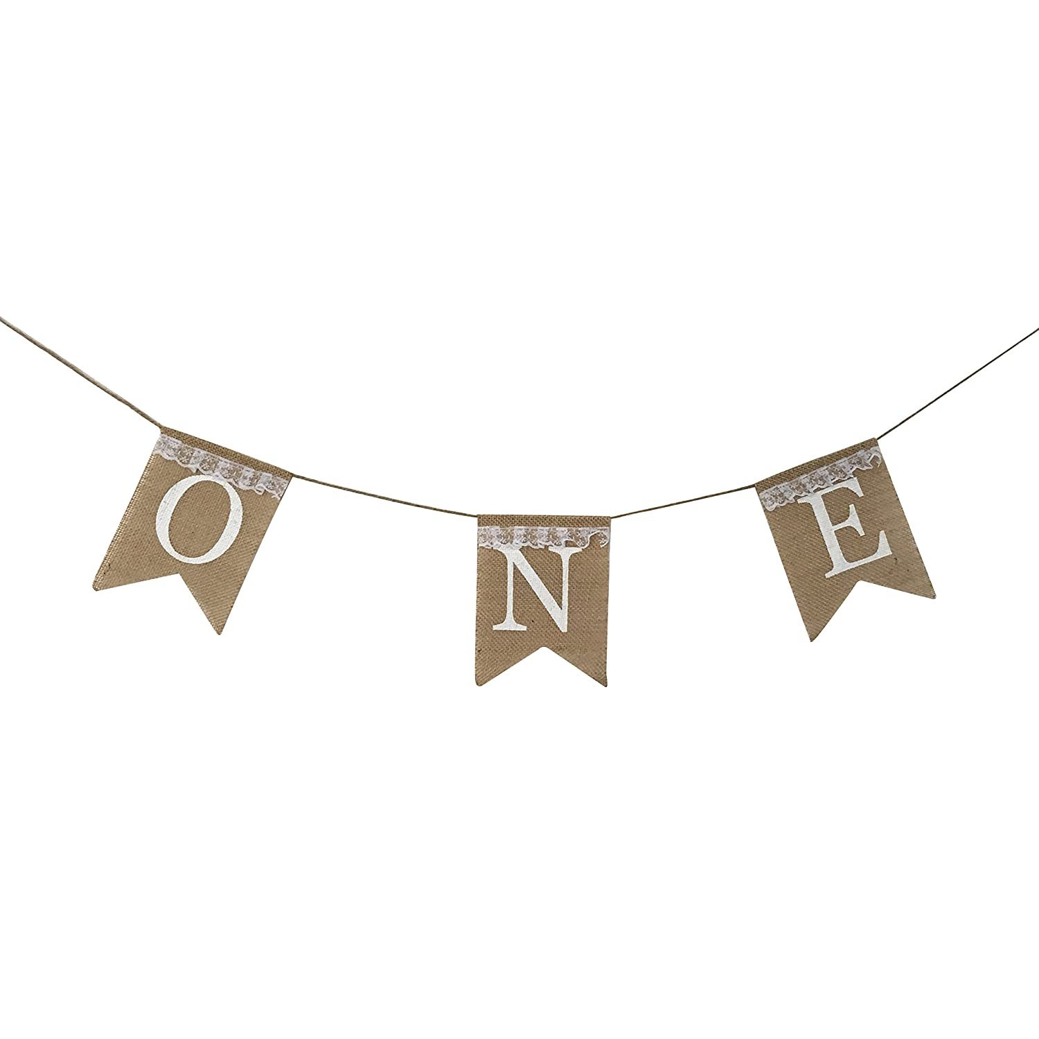 One Banner - First Birthday Party Decorations - 1st Birthday - I Am One - Burlap Lace Highchair Banner Garland for Boy, Girl,Twins   B01N0BIG8X