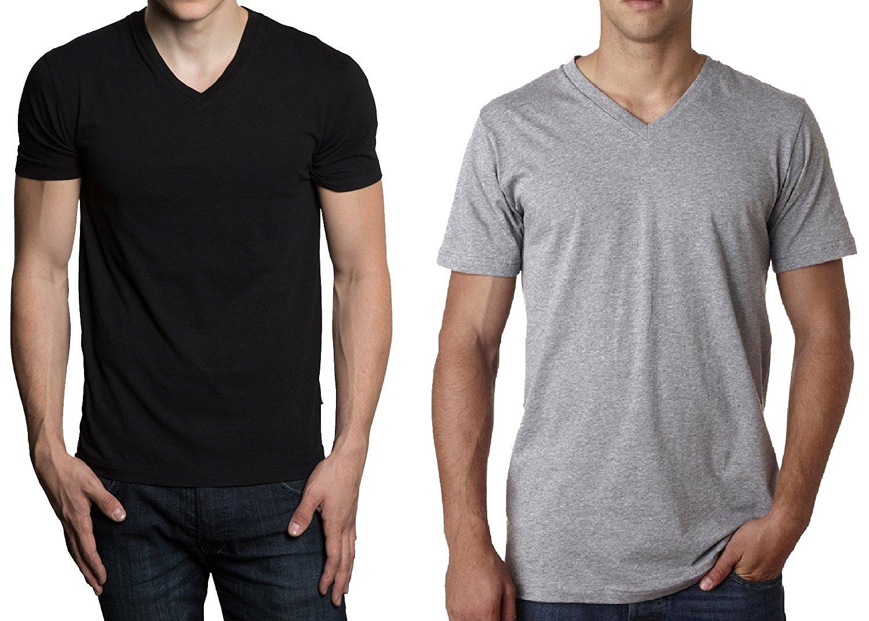 Hanes Men's 3-Pack V-Neck T-Shirt (X-Large, Black/Gray)
