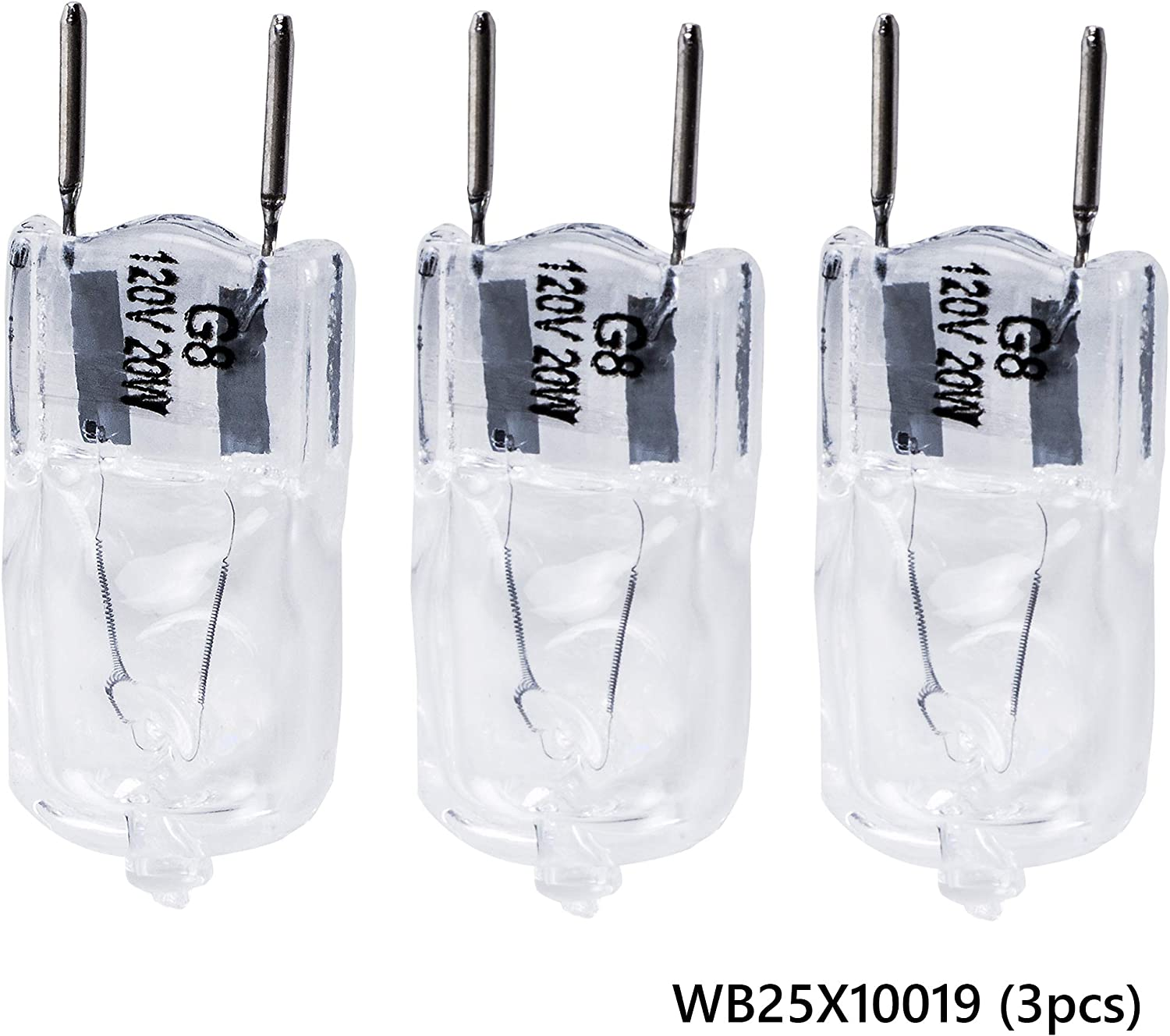 Ultra Durable WB25X10019 20W 120V Microwave Halogen Lamp Bulb Replacement part by Blue Stars – Exact Fit For General Electric & Kenmore Microwaves – Replaces WB08X10050 AP4380308 PS2351821 - PACK OF 3