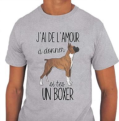 Boxer De L Amour A Donner T Shirt Homme Col Rond Humour Fun Drole Et Mignon Collection Animaux Et Races De Chiens Collection Animaux S Amazon Fr Vetements Et Accessoires