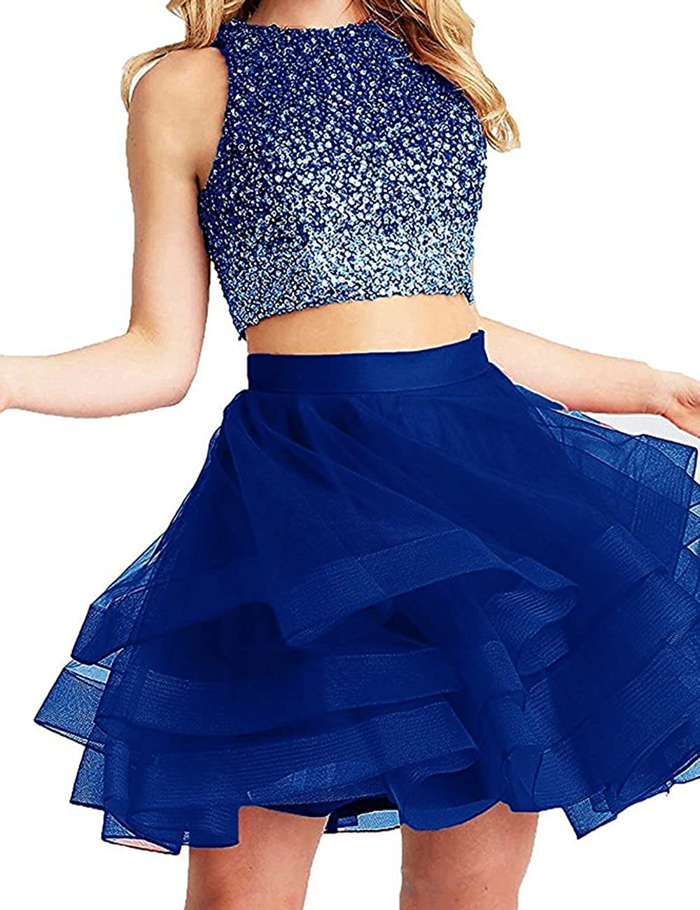 Royal Beautydress Two Pieces Short Prom Gowns Top Beaded Girls Homecoming Dress