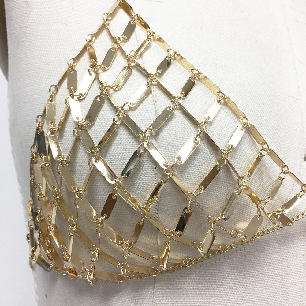 343d188e244a0e Amazon.com  Boho Metal bra bralette chainmail in gold plate  Jewelry