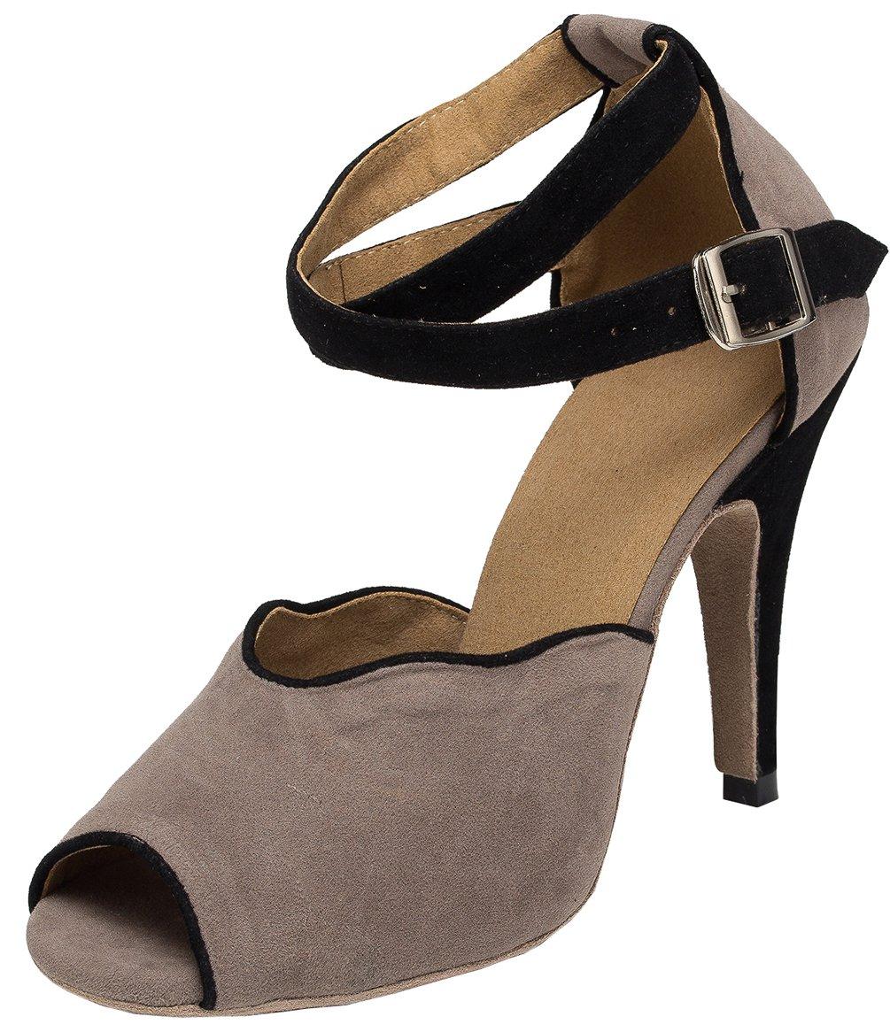 Abby YFYC-L052 Womens Latin Tango Ballroom Custom Heel Down Dance Shoes Grey US Size8.5