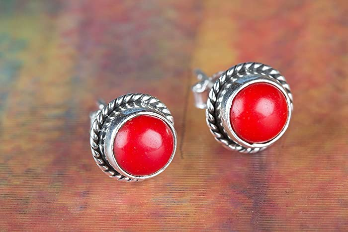 cfd32a520 Amazon.com: Red Coral Earrings, Sterling Silver Stud, Silver Post ...
