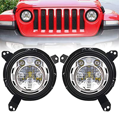 DDUOO Jeep JL LED Headlights, 60W High/Low Beam Headlight + 9 inch Omni-Directional Adjustable JL Headlight Bracket with Adapter for Jeep Wrangler JL JLU 2020 2020: Automotive