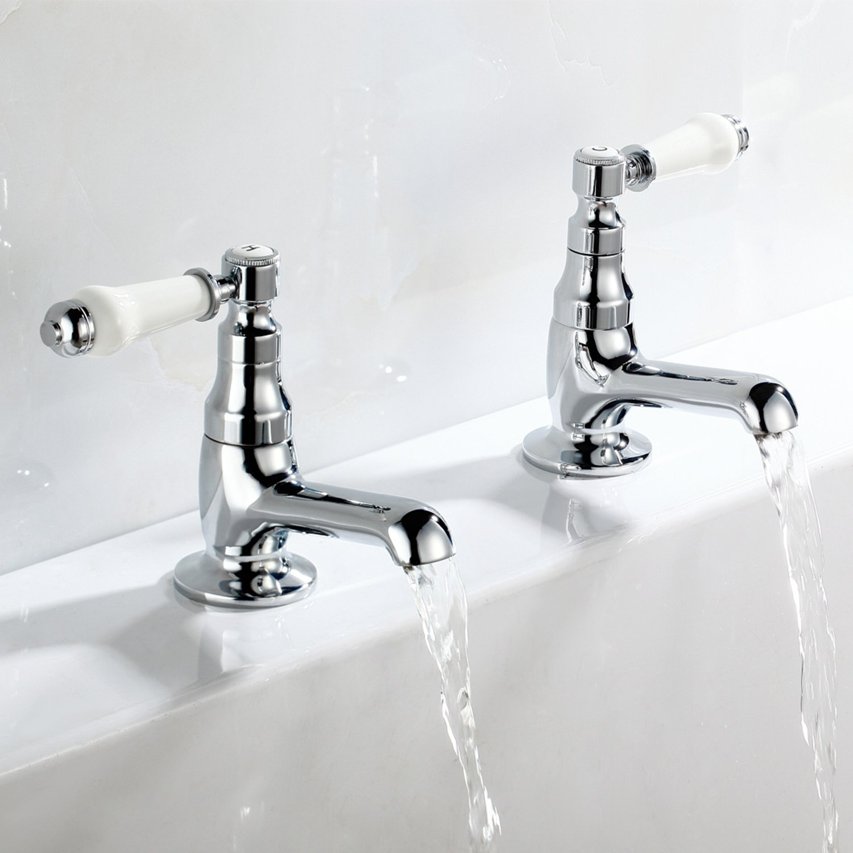 [Ceramic Handle Bath Tap] Hapilife Contemporary Bathroom Twin Lever Chrome Brass Tub Taps