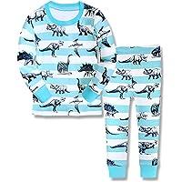 Dos Conjuntos de Pijama de Dinosaurio para los niños y niñas de algodón 100% (2-10 años)