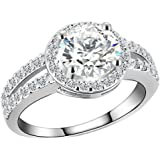 Zealmer Gold Filled Crystal Engagement Ring in Silver for Valentine's Day Split Shank