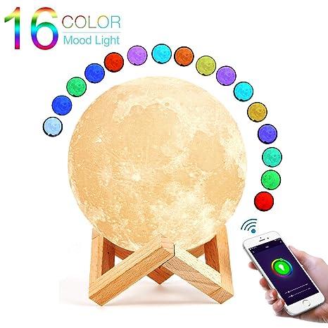 De Luna Nocturna Carga 15cm Colores Luz Lámpara Con 16 Extsud KJ31lcTF